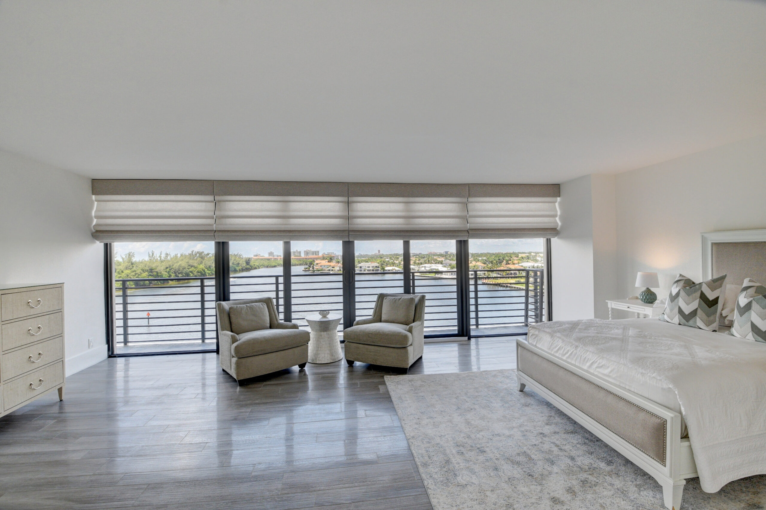 Boca Raton Luxury real estate interior room, with a view of the marina.
